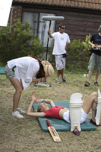 Director Elissa Down and Gemma Ward on the set of