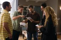Adam Sandler, Seth Rogen, writer/director/producer Judd Apatow, Eric Bana and Leslie Mann on the set of