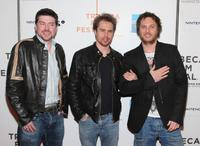 Producer Stuart Fenegan, Sam Rockwell and director Ducan Jones at the New York premiere of