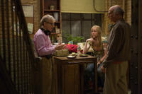 Director Woody Allen, Evan Rachel Wood and Larry David on the set of