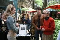 Evan Rachel Wood, Henry Cavill and Director Woody Allen on the set of