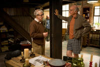 Director Woody Allen and Larry David on the set of