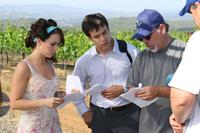 Lacey Chabert, Michael Shulman and Director Craig Saavedra on the set of