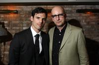 Chris Santos and director Steven Soderbergh at the after party of the New York premiere of