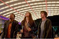 Brandon T. Jackson as Grover, Alexandra Daddario as Annabeth and Logan Lerman as Percy Jackson in