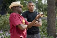 Producers Will Packer and executive producer Chris Brown on the set of