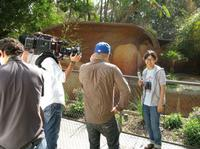 Charlyne Yi on the set of