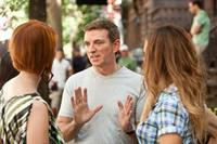 Cynthia Nixon, writer/producer/director Michael Patrick King and Sarah Jessica Parker on the set of