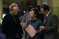 Tobin Bell, director Kevin Greutert and Peter Outerbridge on the set of