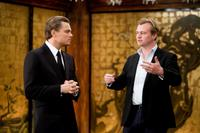 Leonardo Dicaprio and director Christopher Nolan on the set of