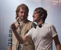 Will Forte and writer/director Jorma Taccone on the set of