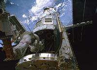 """Astronaut Michael Good and Astronaut Michael Massimino in """"Hubble 3D."""""""