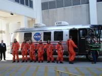 """STS-125 Astronauts on the set of """"Hubble 3D."""""""