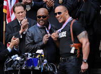 """Samuel L. Jackson and Dwayne Johnson on the set of """"The Other Guys."""""""