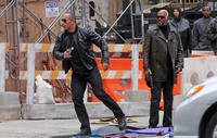 """Dwayne Johnson and Samuel L. Jacksonon the set of """"The Other Guys."""""""