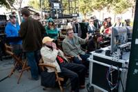 """Director of Photography Oliver Wood and director Adam McKay on the set of """"The Other Guys."""""""