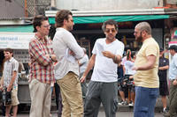Ed Helms, Bradley Cooper, Director Todd Phillips and Zach Galifianakis on the set of