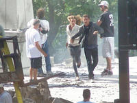 Shia LaBeouf and Rosie Huntington-Whiteley on the set of