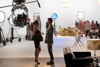 Mila Kunis and Justin Timberlake on the set of