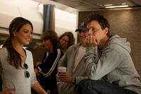 Mila Kunis and Director Will Gluck on the set of