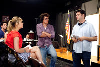 Brie Larson, director Phil Lord and director Chris Miller on the set of