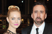Emma Stone and Nicolas Cage at the Germany premiere of