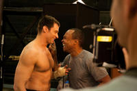 Hugh Jackman and boxing consultant Sugar Ray Leonard on the set of