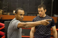 Boxing consultant Sugar Ray Leonard and Hugh Jackman on the set of