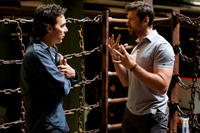 Director Shawn Levy and Hugh Jackman on the set of