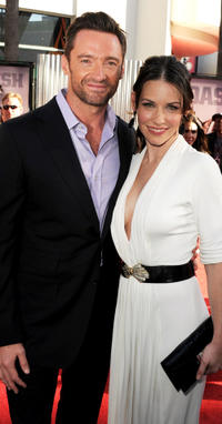 Hugh Jackman and Evangeline Lilly at the California premiere of