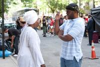 Director/producer Tyler Perry and Whoopi Goldberg on the set of