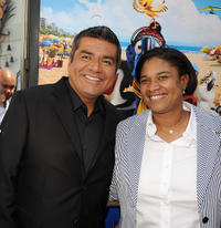 George Lopez and President of Fox Animation Studios Vanessa Morrison at the California premiere of