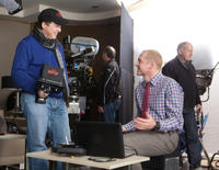 Director Brad Bird and Simon Pegg on the set of