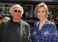 Larry David and Jane Lynch at the California premiere of
