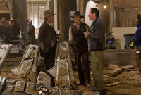 Harrison Ford, Daniel Craig and director/executive producer Jon Favreau on the set of