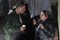 Benno Furmann and director Agnieszka Holland on the set of