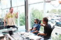 Director/Co-Writer George Gallo, Giovanni Ribisi and Gabriel Macht on the set of