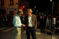 Director Woody Allen and Owen Wilson on the set of