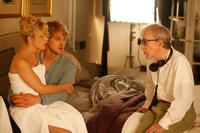 Rachel McAdams, Owen Wilson and director Woody Allen on the set of