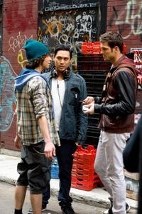 Adam Sevani, director Jon M. Chu and Rick Malambri on the set of