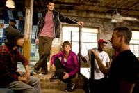 Director Jon M. Chu, Adam Sevani, Rick Malambri, Sharni Vinson, Dondraico Johnson and Adam Shankman on the set of