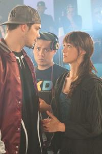 Rick Malambri, director Jon M. Chu and Sharni Vinson on the set of
