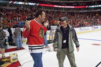 Vince Vaughn and director Ron Howard on the set of