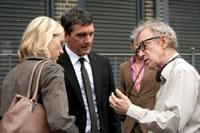 Naomi Watts, Antonio Banderas and Woody Allen on the set of
