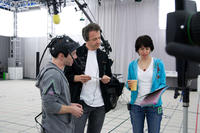 Seth Green, director Simon Wells and Wendy Wells on the set of