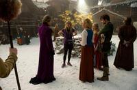 "Gary Oldman, director Catherine Hardwicke, Virginia Madsen, Amanda Seyfried and Billy Burke on the set of ""Red Riding Hood."""