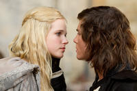 Gabriella Wilde as Constance and Logan Lerman as D'Artagnan in
