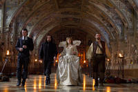 Luke Evans as Athos, Matthew MacFadyen as Aramis, Milla Jovovich as Milady de Winter and Ray Stevenson as Porthos in