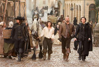 Matthew MacFadyen as Aramis, Logan Lerman as D'Artagnan, Ray Stevenson as Porthos and Luke Evans as Athos in