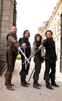 Ray Stevenson as Porthos, Matthew MacFadyen as Aramis, Logan Lerman as D'Artagnan and Luke Evans as Athos in